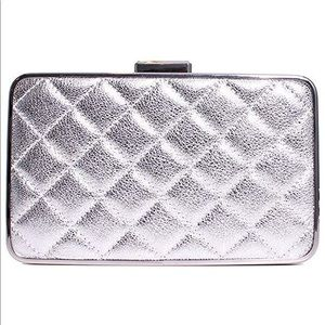 Michael Kors Elsie Quilted Box Clutch Silver